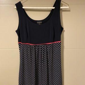 Sleeveless Navy dress with white polka dots